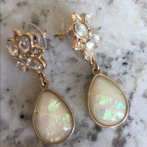 iridescent Bridal formal  Earrings with barrette